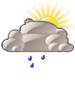Mostly cloudy with light rain
